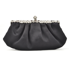 TopTie Black Evening Handbag, Simple Style Satin Clutch, Gift Idea