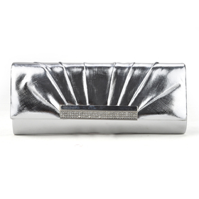 PU Leather Clutch, Silver Evening Handbag, Gift Idea