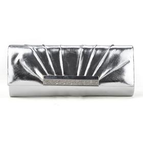 PU Leather Clutch, Silver Evening Handbag, Gift Idea