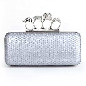 Skull Knuckle Rings Clutch Evening Bag, PU Embed with Sequin - Silver