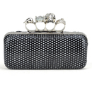 Skull Knuckle Rings Clutch Evening Bag, PU Embed with Sequin - Black