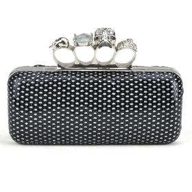 TopTie Skull Knuckle Rings Clutch Evening Bag, PU Embed with Sequin - Black