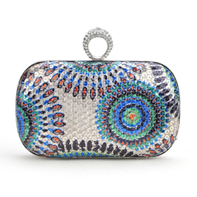 TopTie Fashion Peacock Style Sequin Clutch - Colorful Green