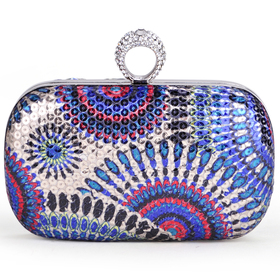 TopTie Fashion Peacock Style Sequin Clutch - Colorful Blue