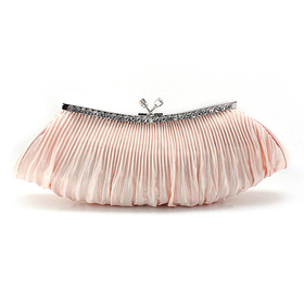 Falcate Shape Pleated Satin Clutch - Champagne