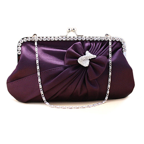 Rhinestone Bow Knot Evening Clutch - Purple