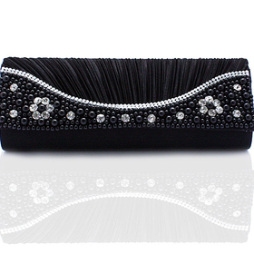 TopTie Faux Pearl and Crystal Decorated Stylish Satin Clutch - Black