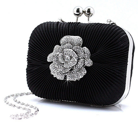 TopTie Pleated Satin Rhinestone Flower Cute Clutch - Black