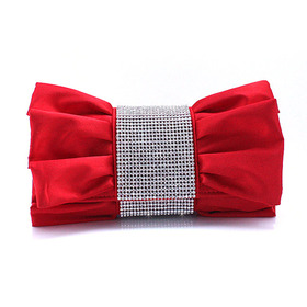 TopTie Crystal Decorated Bow Shape Satin Clutch - Red