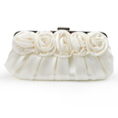 TopTie Rose Clutch, Satin Ivory Evening Handbag, Gift Idea