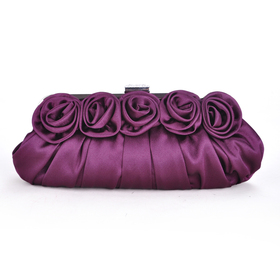 Rose Clutch, Satin Purple Evening Handbag, Gift Idea