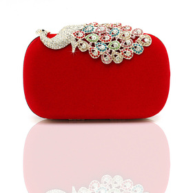 TopTie Crystal Peacock Decorated Fashion Hand Case - Red
