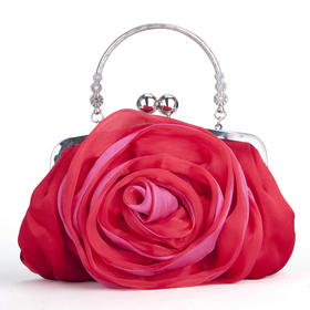 TopTie Red Rose Clutch, Satin Evening Handbag, Gift Idea