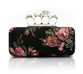 Skull Knuckle Rings Clutch Evening Bag, Classy Black Floral Style