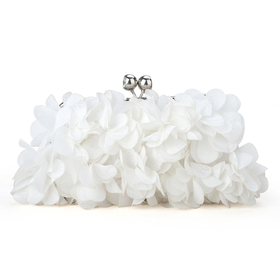 Petal Design Satin Evening Handbag - Ivory