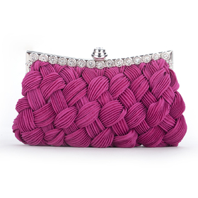 TopTie Plum Clutch, Satin Woven Pattern Evening Bag, Gift Idea
