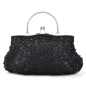 TopTie Beaded Flower Clutch, Black Evening Handbag, Gift Idea