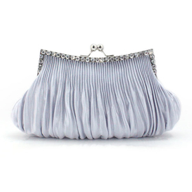 TopTie Draped Satin Crystal Decorated Frame Evening Bag - Silver