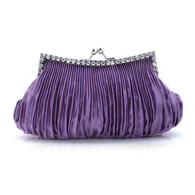 Draped Satin Crystal Decorated Frame Evening Bag - Violet