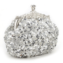 Cute Sequin Clutch, Silver Evening Handbag, Gift Idea