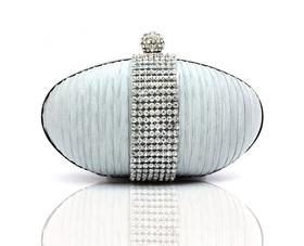 TopTie Rhinestone Decorated Egg Shape Clutch Handbag - Silver