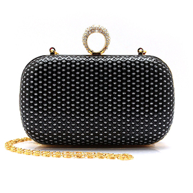TopTie Rhinestone Ring Clutch, PU Embed with Sequin - Black