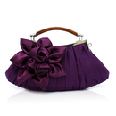 TopTie Frill Handbag Purse with Satin Flower, Evening Clutch