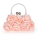 TopTie Rose Banquet Bag with Metal Handle, Satin Wedding Bag