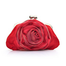 TopTie Cute Rose Satin Clutch Evening Handbag with Handle
