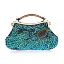 TopTie Retro Style Handbag Glittering Sequin Peacock Feather Pattern Purse