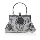 TopTie Stylish Embroidery Flower Blossoms Beaded Clutch Cocktail Handbag