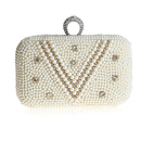 TopTie Single Rhinestone Ring Evening Bag, Pearl Beading Decoration