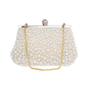 TopTie Beaded Clutch, Imitation Pearl Handbag With Golden Chain