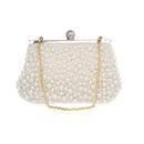 TopTie Beaded Clutch, Imitation Pearl Handbag With Golden Chain