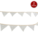 Aspire 2 Packs Vintage Lace Pennant Banner, 8.5 Feet, Delicate Garland for Wedding, Party, Anniversary, Photo Props