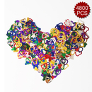 Aspire 6 Packs 4800pcs Boutique Party Confetti, Heart Shaped Table Confetti, Glitter Colorful Decoration for Anniversary, Wedding, Birthday, DIY Crafts