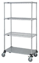 Quantum M2448CG47 3 Wire / 1 Solid Shelf Mobile Carts (Outside Dimensions: 48