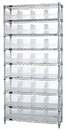 Quantum WR9-207CL Wire Shelving Shelf Bin System - Complete Wire Package, 32 QSB207CL BINS