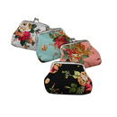 Aspire 12PCS Rose Pattern Canvas Clasp Closure Wallet, Double Coin Purse, Gift idea