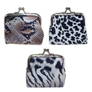 Aspire 1 Dozen Animal Print Leather Double Coin Purse, Clasp Closure Purse for Lady
