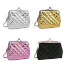 Aspire 12PCS Quilted Leather Clasp Closure Purse with Key Chain, Girls Party Favors