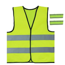 GOGO Child Reflective Safety Vest for Outdoor Sports, High Visibility Elastic and Adjustable Safety Vest for Running, Cycling, Walking, 2 Armbands Included
