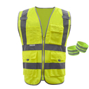 GOGO 4 Pockets High Visibility Zipper Front Safety Vest with Two Reflective Armbands, M-XXL