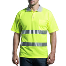 GOGO Hi Viz Work Wear Grey Collar Safety Visibility Polo T-Shirt