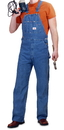 ROUND HOUSE Men's Stonewashed  Zipper Fly Blue Denim Overalls (12 oz denim)