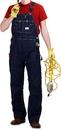 ROUND HOUSE Men's Zipper Fly  Blue Denim Bib Overalls (12 oz. denim)