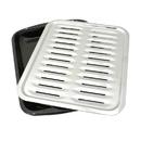 Range Kleen BP100 Porcelain Broiler Pan with Chrome Grill 13x16