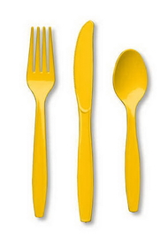 Creative Converting 010425 School Bus Yellow Cutlery (Prem) Cutlery Assortment (12pks Case)