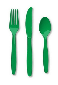 Creative Converting 010434 Emerald Green Cutlery (Prem) Cutlery Assortment (12pks Case)