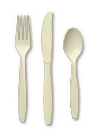 Creative Converting 010435 Ivory Cutlery (Prem) Cutlery Assortment (12pks Case)